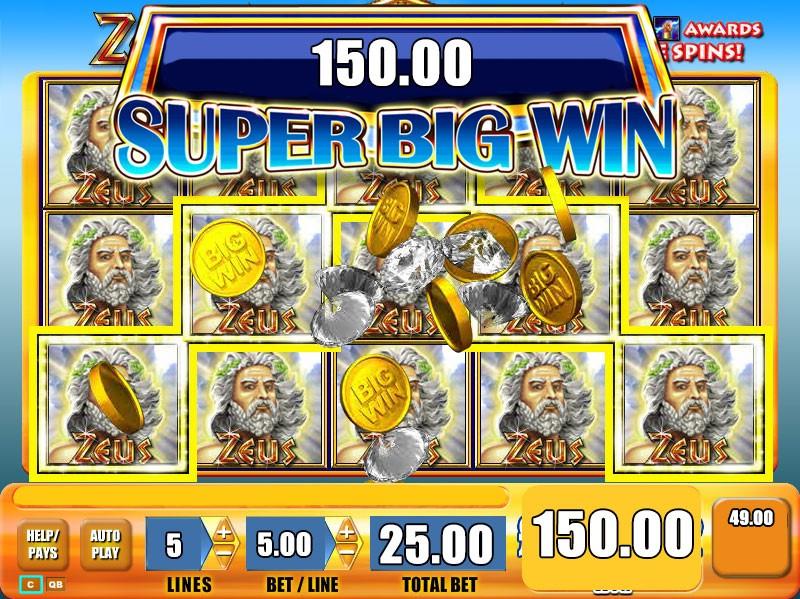 Super Big Win awarded on the original WMS Zeus online slot