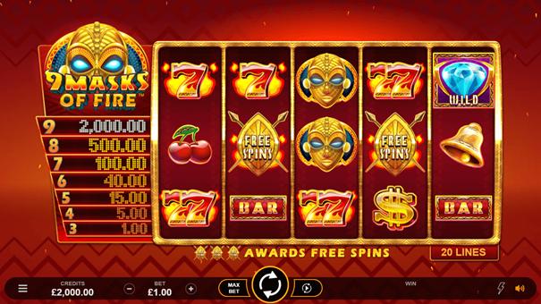 Spela 9 Masks of Fire slot