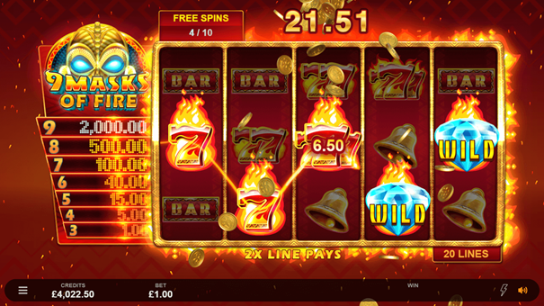 9 Masks of Fire slot free spins