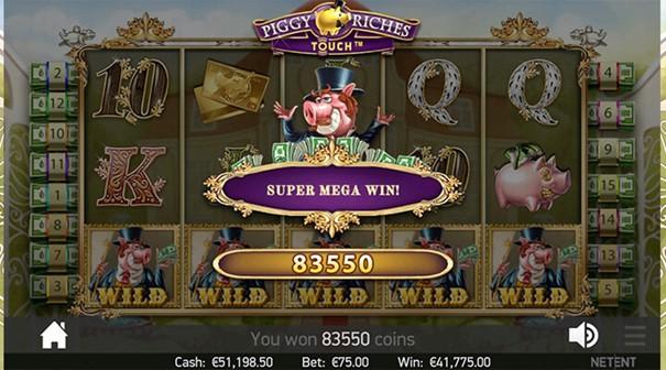 NetEnt Piggy Riches slot win
