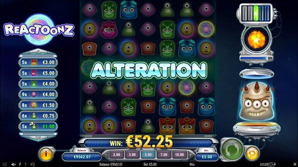 reactoonz slot bonus
