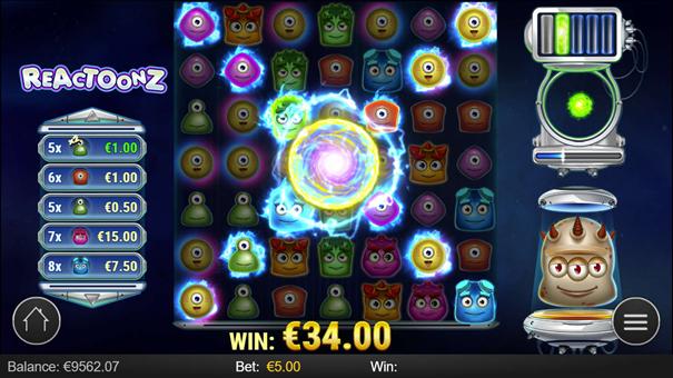 spela reactoonz slot bonus