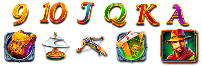 Symbols-9,-10,-J,-Q,-K-y-A,-ballesta,-helicóptero,-mochila,-tomo-antiguo,-retrato-de-John-Hunter