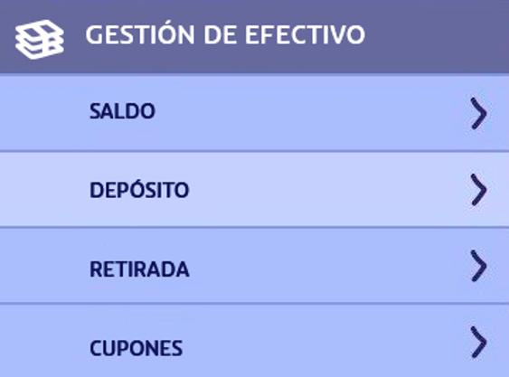 PASO 1 para depositar en PlayUZU con Cashlib: ir a DEPÓSITOS