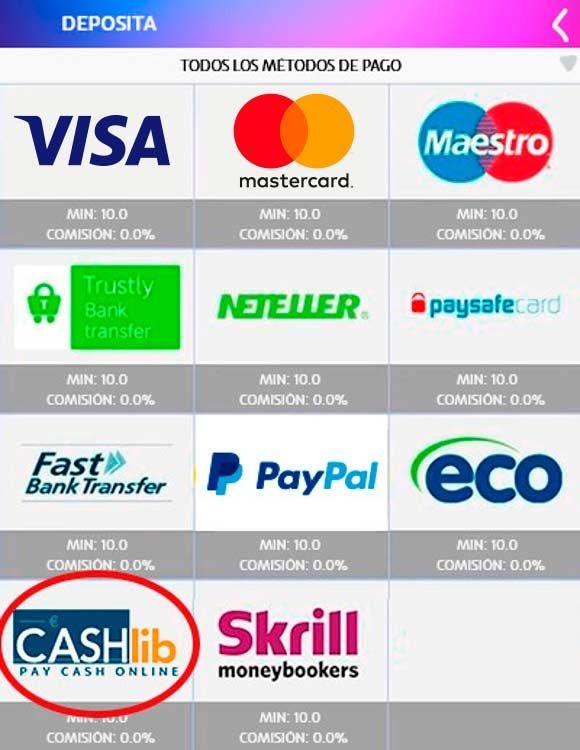 PASO 2 para depositar con Cashlib: Elige Cashlib