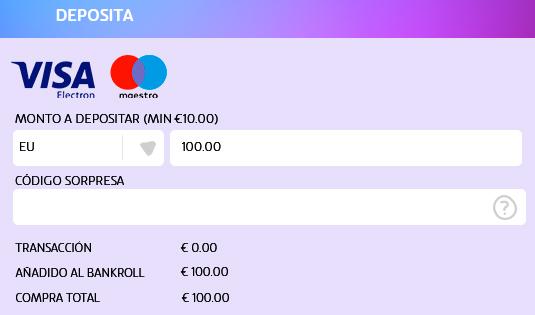 Elige el monto a depositar en UZU con tarjeta debito