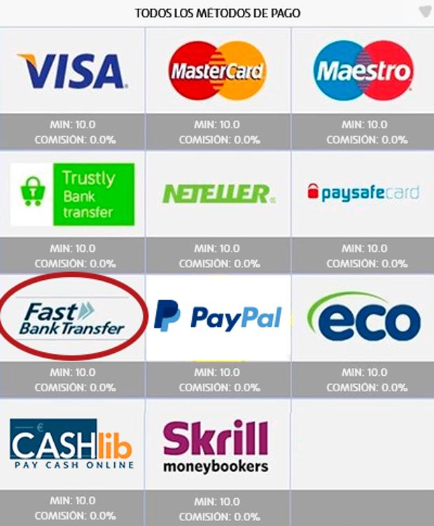 PASO 2 de retirada con Fast Bank Transfer en UZU: Elige Fast Bank Transfer