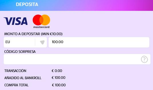 Deposita en PlayUZU con Visa o Mastercard