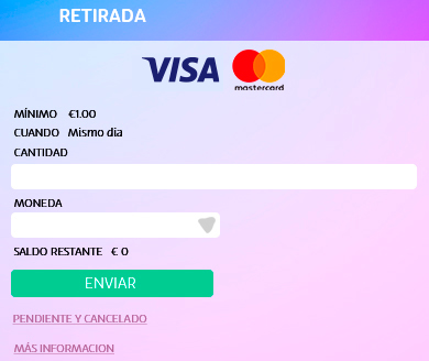 Retirada de PlayUZU con Visa o Mastercad