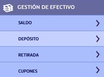 PASO 1 para depositar en PlayUZU con PayPal: ir a DEPÓSITOS