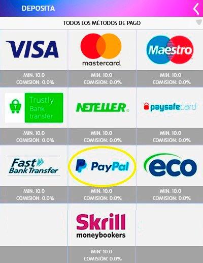 PASO 2 para depositar con PayPal: Elige PayPal