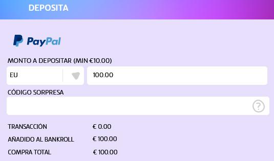 PASO 3 para depositar con PayPal: Elige el monto