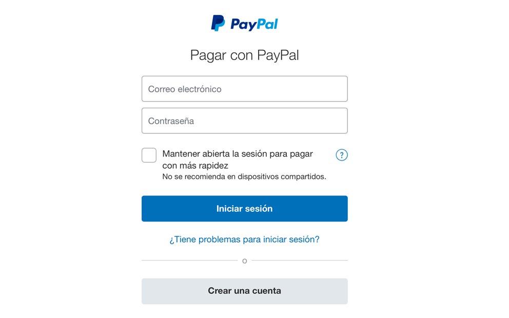 PASO 4 para depositar con PayPal: Inicia Sesion en tu cuenta de PayPal