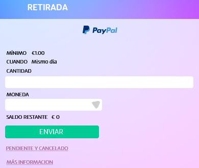 PASO 3 de retirada con PayPal en UZU: Elige el monto