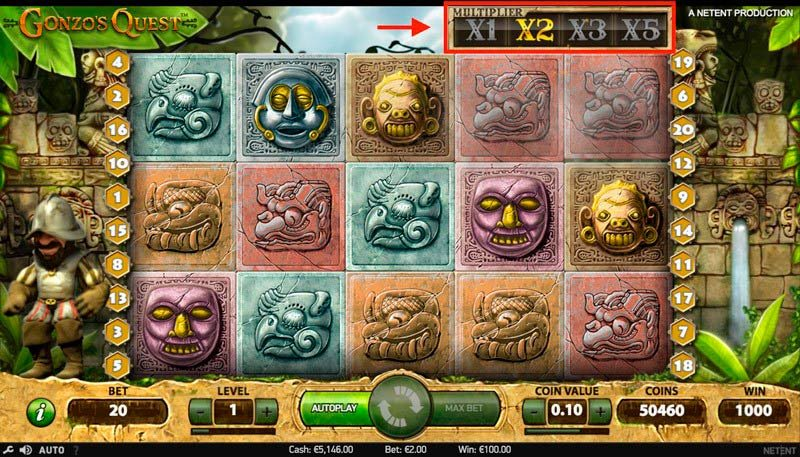 Multiplicador de la slot Gonzos Quest